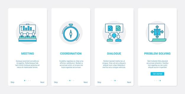 Spotkanie z komunikacją biznesową konferencja ux ui onboarding zestaw ekranów aplikacji mobilnej