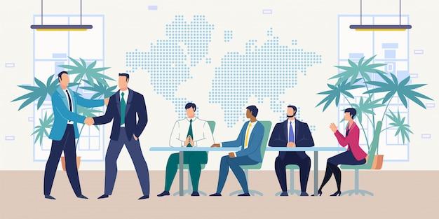 Spotkanie z partnerami biznesowymi płaskiej wektor koncepcji