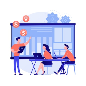 Spotknie grupowe. współpraca korporacyjna. koledzy w biurze. planowanie strategii, dyskusja konferencyjna, burza mózgów przy stole. organizacja start-upowa. ilustracja wektorowa na białym tle koncepcja metafora.