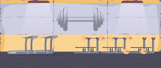 Spotted siłownia ze sprzętem do ćwiczeń. pojęcie sportu i zdrowego stylu życia