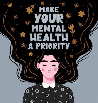Spraw, aby twoje zdrowie psychiczne było priorytetem wektor napis dziewczyna z długimi włosami z tekstem wyciągnąć rękę