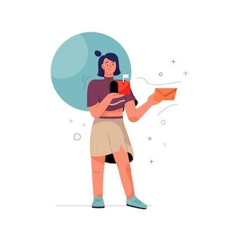 Sprawdź, czy koncepcja e-mail kobieta trzyma list w kopercie i skrzynce pocztowej