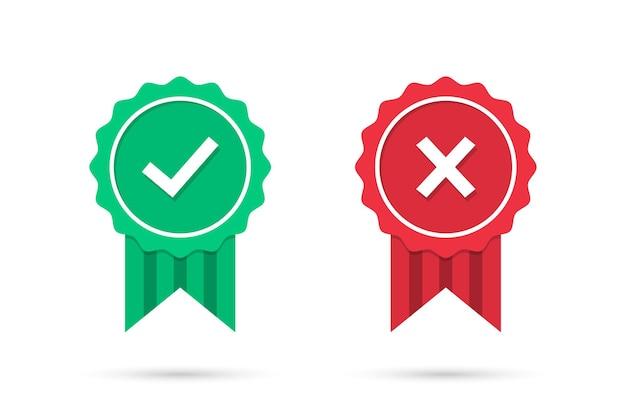 Sprawdź i krzyż ikony medalu w płaskiej konstrukcji. zielona odznaka medalu zatwierdzona i czerwona odrzucona z cieniem. zestaw ikon certyfikowanych medali. ilustracja wektorowa