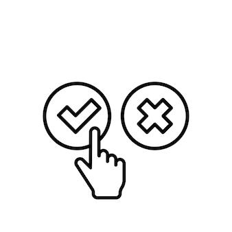 Sprawdź i znak krzyża z ikoną kursora dłoni. zatwierdź lub odrzuć koncepcję. do aplikacji i stron internetowych. wektor eps 10. na białym tle.