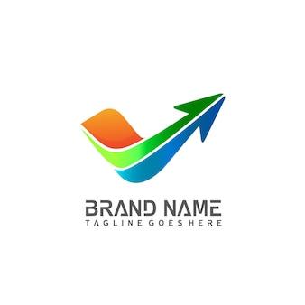 Sprawdź ikonę listy z wektorem logo strzałki