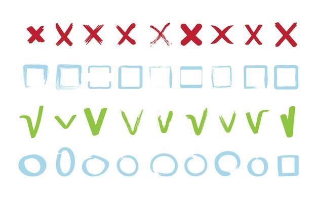 Sprawdź kolekcję znaków. zatwierdź fałszywe znaki odrzucenia, geometryczne kształty kwadratowe i okrągłe, symbole wektorowe. ilustracja tak lub nie zaznacz, sprawdź i odrzuć