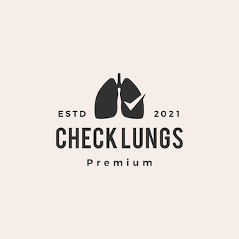 Sprawdź logo vintage hipster płuc