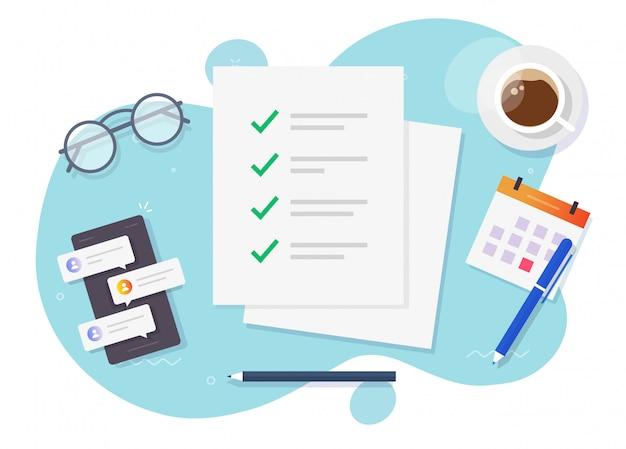 Sprawdź znaczniki wyboru listy, jak wykonać arkusz papieru formularza zadania na wektorze stołu biurkowego