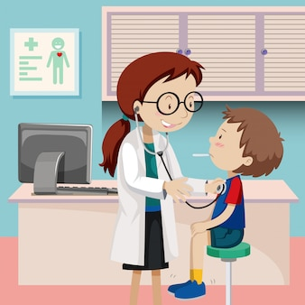 Sprawdzanie chłopca w szpitalu
