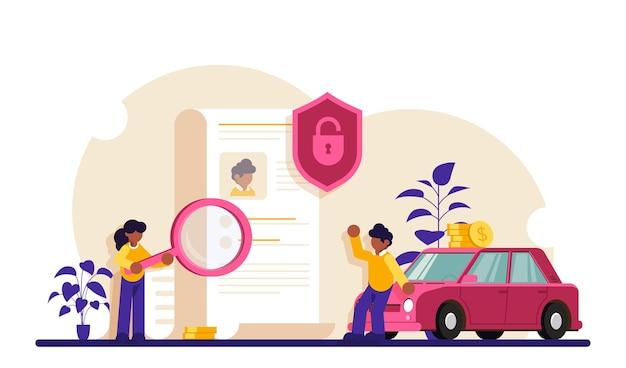 Sprawdzanie dokumentów. postacie zawierają umowę. w pobliżu samochodu stoją osoby z dokumentem.