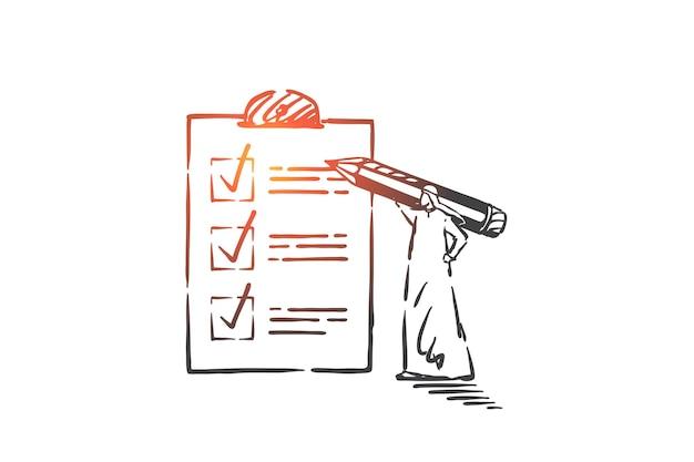 Sprawdzanie listy rzeczy do zrobienia, planowanie ilustracji koncepcji działań