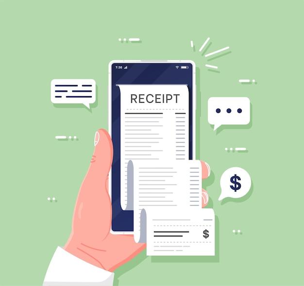 Sprawdzanie rozliczeń sprawdzanie rachunków online i pokwitowania wypłaty powiadomienia mobilne