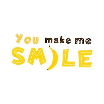 Sprawiasz, że się uśmiecham cytat żółty wektor napis