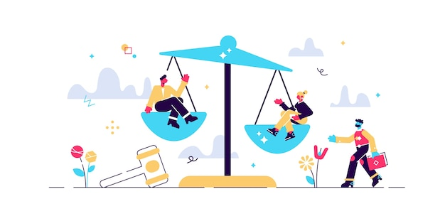 Sprawiedliwość, ilustracja malutkich osób. wagi i symbol młotek prawnika. pomiar równości i wolności z osobami siedzącymi na wadze. ochrona socjalna i równowaga systemu kar.