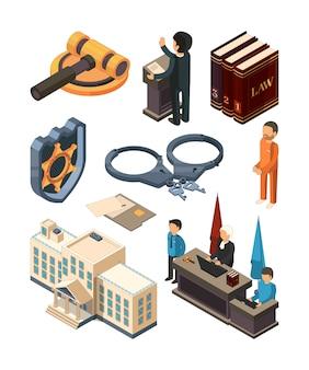 Sprawiedliwość prawna izometryczna. prawa młota książki sądzą prawnika sąd karny i inni 3d symbole odizolowywający