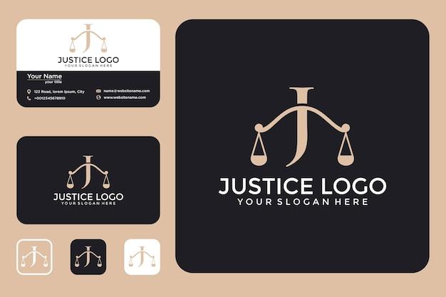 Sprawiedliwość z projektem logo litery j i wizytówką