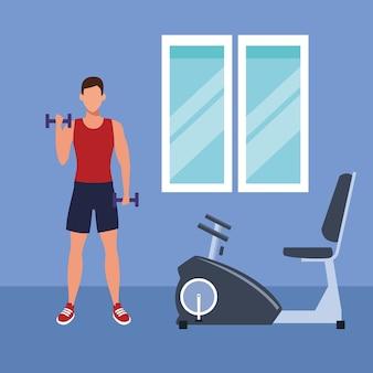 Sprawność fizyczna mężczyzna robi ćwiczeniu