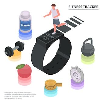 Sprawności fizycznej tropiciela pojęcia tło. izometryczne ilustracja fitness tracker koncepcja tło wektor do projektowania stron internetowych