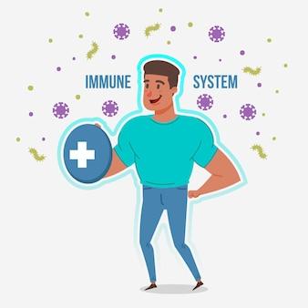 Sprawny człowiek z dobrym systemem odpornościowym przeciwko wirusom
