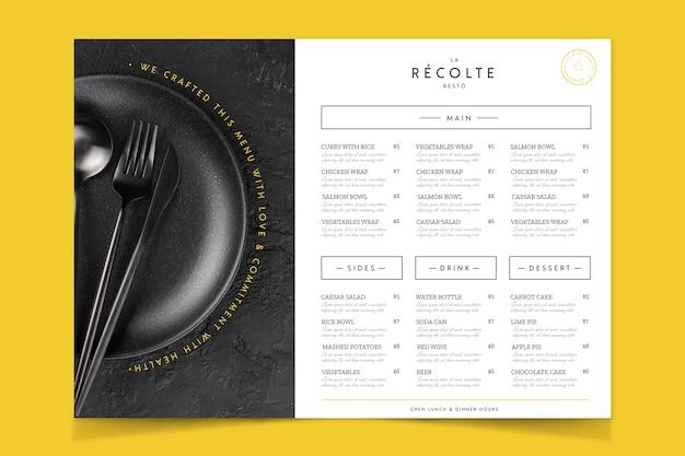 Spreparowane menu restauracji w stylu vintage