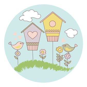 Spring bird cartoon vector illustration set