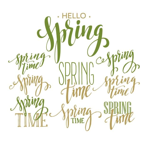 Spring time, zestaw napisów hello spring. ilustracja