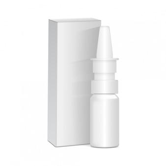 Spryskaj środki antyseptyczne do nosa lub oczu. biała plastikowa butelka z pudełkiem. przeziębienie, alergie. realistyczny