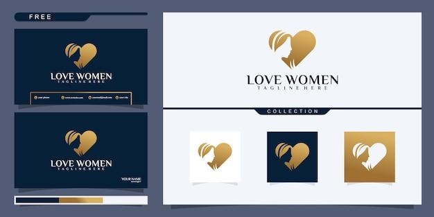 Sprytne logo o podwójnym znaczeniu, przedstawiające piękną kobietę i symbol miłości. nowoczesne, kreatywne i eleganckie logo negatywnej przestrzeni