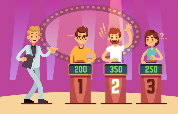 Sprytni młodzi ludzie grają w teleturniej. ilustracja kreskówka
