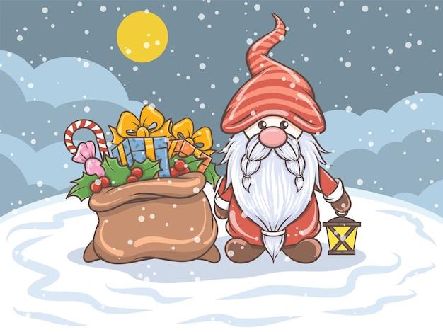 Sprytny gnom trzyma latarnię słoneczną i worek na prezent - ilustracja christmas