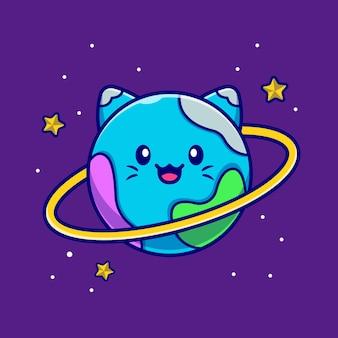 Sprytny, kot, planeta, rysunek, ilustracja.