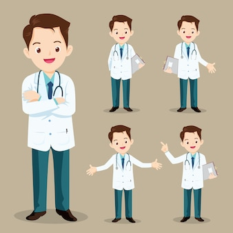 Sprytny lekarz prezentujący się w różnych akcjach