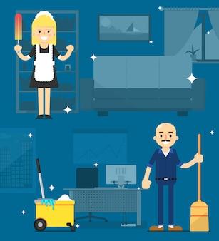 Sprzątaczki na biurowej ilustraci