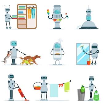 Sprzątanie domowy robot robi sprzątanie domu i inne obowiązki zestaw futurystycznych ilustracji ze sługą androida