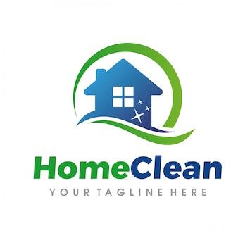 Sprzątanie domu i logo usługi sprzątania
