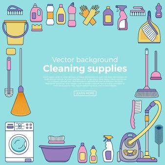 Sprzątanie gospodarstwa domowego dostarcza baner z elementami ustawionymi w konspektu płaski.