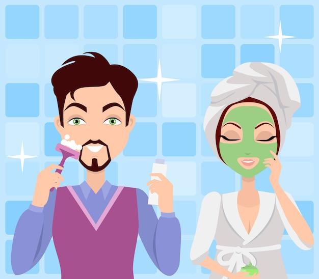 Sprzątanie mężczyzny i kobiety. wykonywanie procedur prania