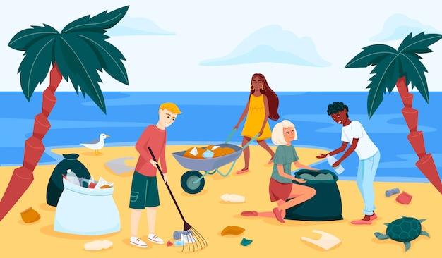 Sprzątanie plaży lub wybrzeża w płaskim rysunku.