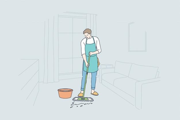 Sprzątanie, praca, zawód, koncepcja domu
