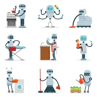 Sprzątanie robot domowy robi porządki domowe i inne obowiązki seria futurystycznych ilustracji ze sługą androida