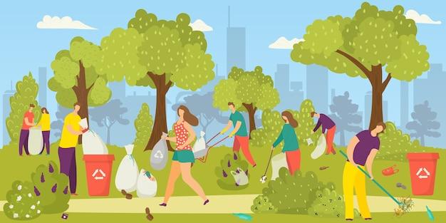 Sprzątanie środowiska, zespół wolontariuszy zbierających śmieci, śmieci w parku do worków na śmieci, ilustracja. wolontariat społeczny na rzecz przyrody. ekologia środowiska, działalność charytatywna zorientowana na środowisko.