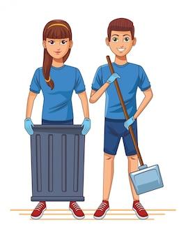 Sprzątanie usługi postać z kreskówki awatar