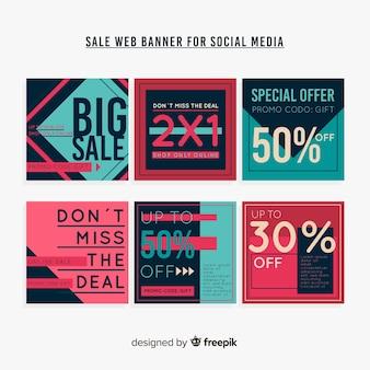 Sprzedaży internetowej baner kolekcji por social media