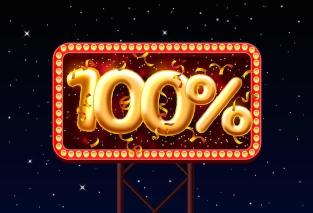 Sprzedam 100 off numer balonu na tle nocnego nieba. ilustracja wektorowa