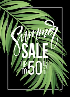 Sprzedam baner, plakat z liśćmi palmowymi, liściem dżungli i napisem odręcznym. tle kwiatów tropikalnych lato.