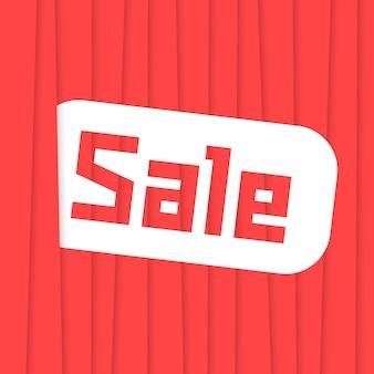 Sprzedam etykietę z czerwonymi paskami. koncepcja banera sprzedaży, e-commerce, super gorąca sprzedaż, prezentacja, reklama wiadomości, sprzedaż hurtowa, towary, promocyjne. płaski trend w nowoczesnym stylu ilustracji wektorowych