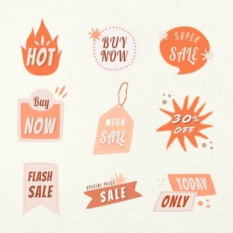 Sprzedam odznakę naklejki, doodle zakupy clipart wektor zestaw