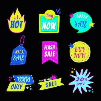Sprzedam odznakę naklejki, doodle zakupy wektor zestaw clipart