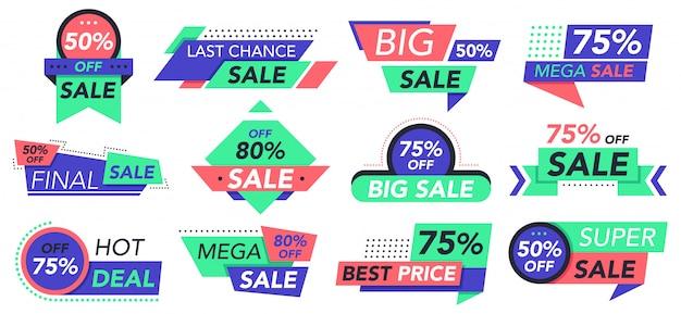 Sprzedam odznaki. detal, duża sprzedaż i najlepsza oferta tagi, sklepowe naklejki rabatowe. zestaw ikon etykiet reklamowych tanie ceny. ilustracja rabat detaliczny, naklejka oferty, promocja kuponu banerowego
