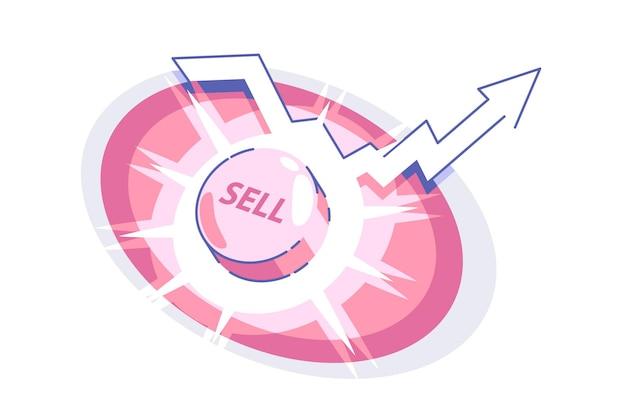 Sprzedam przycisk i strzałkę w górę ilustracji wektorowych jaskrawoczerwone pokrętło z tekstowym symbolem stylu płaskiego, aby rozpocząć działalność i oferować towary lub usługi do koncepcji sprzedaży na białym tle